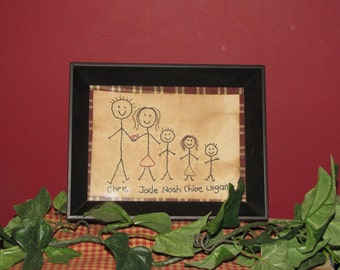 Primitive Stitchery Sampler, Stick People Family, Handmade, Personalized, Rustic, Country, Family Stitchery, Gift