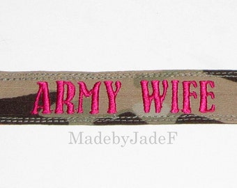 ARMY WIFE pink name tape bracelet