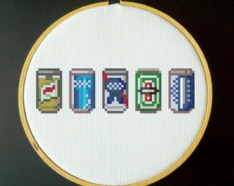 Beer Can Collection PDF Cross Stitch Pattern