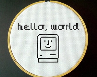 Hello, World PDF Cross Stitch Pattern MAC Computer Icon
