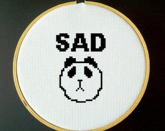 Sad Panda Cross Stitch PDF Pattern