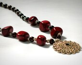 Burgundy Stone Necklace with Silver Filigree Pendant