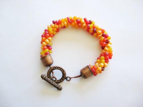 Yellow and Orange Beaded Bracelet