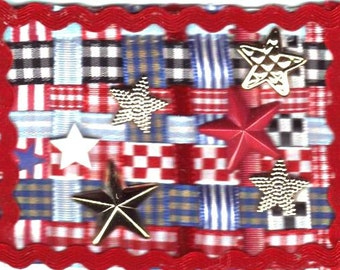 ATC Stars - OOAK woven ribbon fiber art card