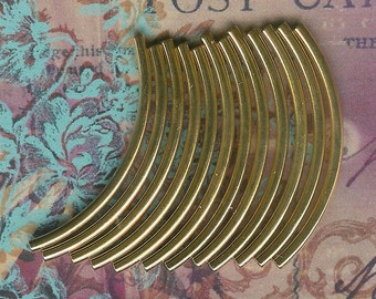12pc-38mm x 2mm Curved Gold Plated Tubes