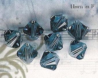 6mm Denim Blue Austrian Swarovski Crystals-8 piece pack