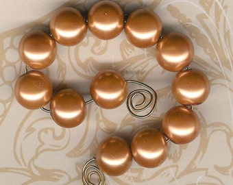 12mm Carmel Chinese Glass Pearl Beads-12pc pack