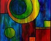 Circles vs. Squares Abstract Acrylic Painting 11 x 14 print