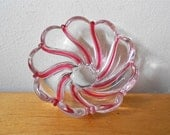 Vintage Mid Century Candy Striped Dish Vase Clear Glass with Pink Stripes