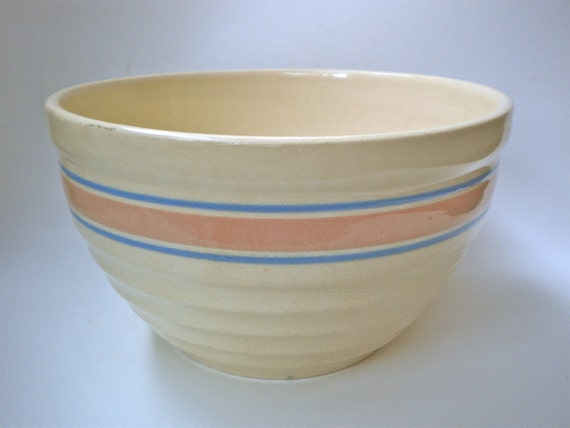 Vintage Stoneware Mixing Bowl With Pink And Blue By Bakerinva