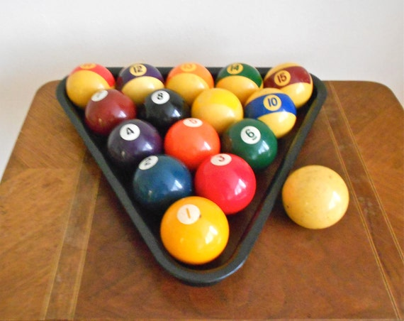 Vintage Fifteen Ball Billiards or Pool Set with Cue Ball and Rack - Circa 1970