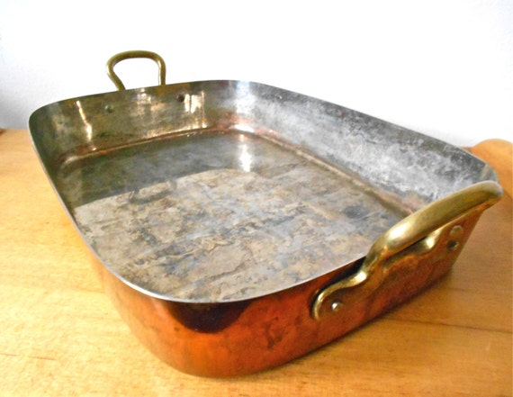 copper roasting pan vintage copper and brass tin lined roasting pan 2584