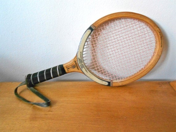 Vintage Sportcraft Wooden Raquetball or Squash Racket Made in Japan Circa 1970