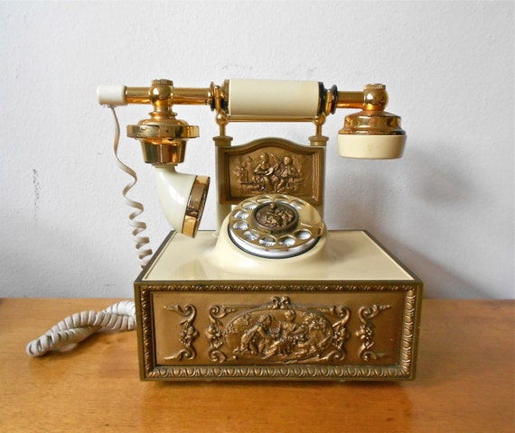 Vintage Reproduction Hollywood Regency Design Rotary Telephone by Western Electrics WORKS Circa 1970s