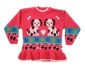Vintage Toddler Girl Sweater Dress Hot Pink Dalmatian Dog Music Argyle Print Jumper 4T
