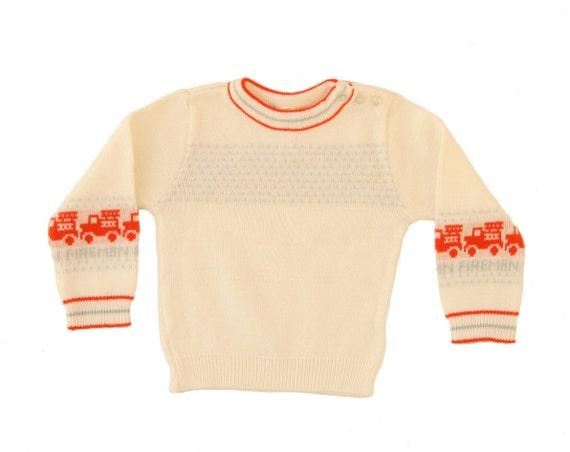 Vintage Baby Boy Sweater Jumper Red Firetrucks Fire Truck Cream Pullover Top 6 to 9 Months