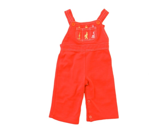 Vintage Baby Overalls Red Crayon Embroidered Romper Jumper Jon Jons Outfit 9 Months