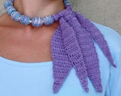 SPRING SALE 2-in-1 Crochet Necklace and Scarf Neck piece OOAK Blue purple lilac lavender Ready to ship Stocking stuffer