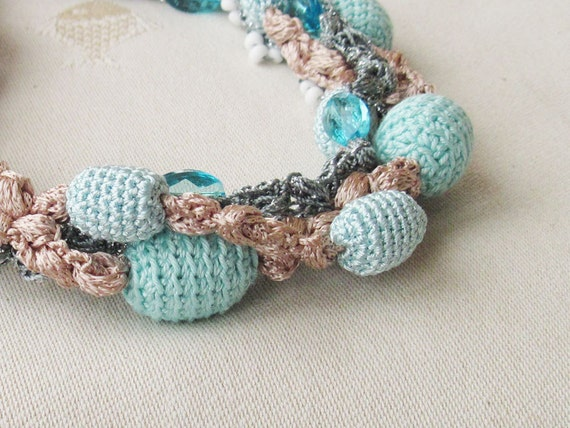 Valentine gift for her under 50 Crochet necklace in aqua blue and beige Holiday Jewelry Woman Multi strand Ready to ship Free shipping