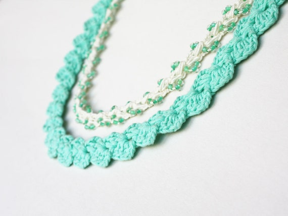 Stackable jewelry Mint green ivory white 2 in 1 crochet necklace Gift for her under 25 Boho Hippie Summer fashion Stacking necklace sale