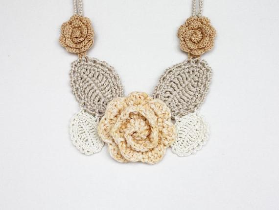 Statement necklace under 50 Bib necklace Boho chic jewelry Pale yellow beige ivory Wedding Crochet freeform Flower Floral Sale