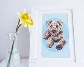 Airedale Terrier, dog portrait illustration 8 x 11 wall art print