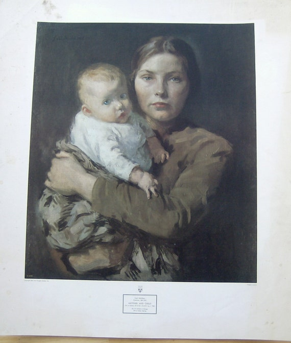 "Vintage art print ""Mother and Child"" Gari Melchers"