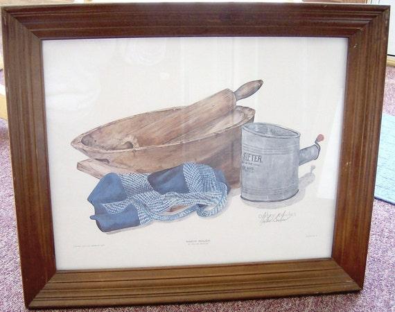 Pair framed Dexter Bowles signed Ltd Ed prints Makin' Dough & Buttermilk