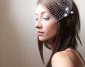 bridal hair piece  - pearl bobby pin set of 5 - with bandeau birdcage veil