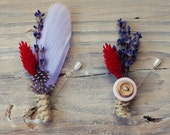 ROBIN - lavender and red feather boutonniere - set of 2