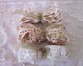Victorian Lace Trim and Trim, Cotton, Machine Made, Set of Three