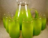 West Virgina Glass Blendo Pitcher Set