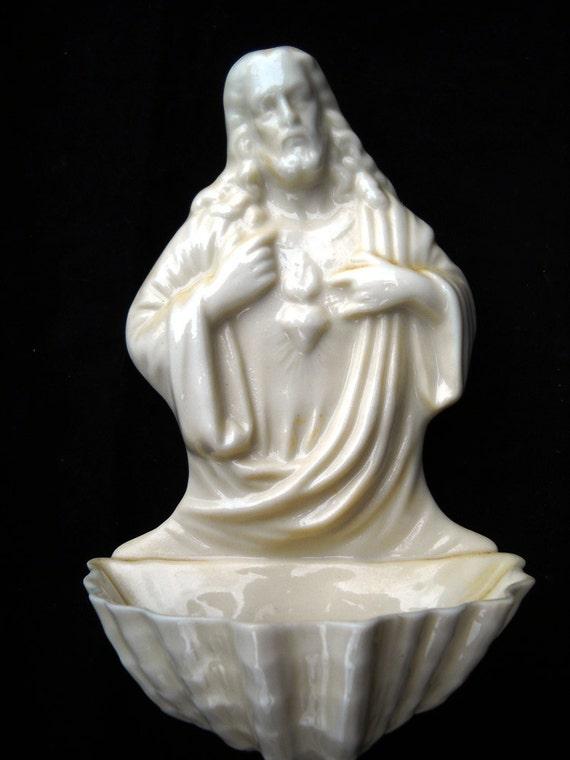 Beleek Sacred Heart Holy Water Font