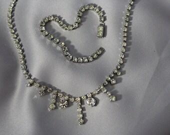 Vintage Rhinestone Necklace & Bracelet Diamante Princess 1950's