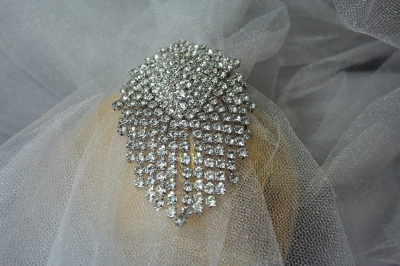 Vintage Bridal 1960 Crystal Rhinestone Brooch/Hair Comb, Bridal Wedding Jewelry