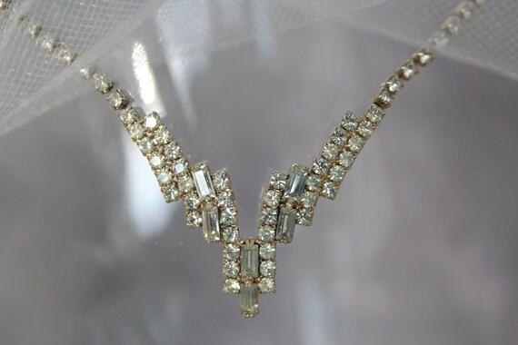 Art Deco Vintage Bridal Necklace, Rhinestone Crytal Necklace - Weddding Jewelry, Wedding Necklace