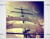 Peter Pan Pirate Ship Photography - 5x5 photography print - fantasy night sky twinkle stars boat sails magical 'Second Star to the Right'