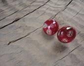 Cute Red Button Dichroic Glass Earrings