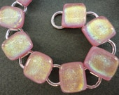 Pretty Pink Dichroic Glass Bracelet