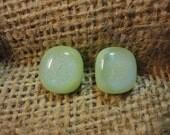 Mint Green Button Dichroic Glass Earrings