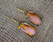 Fancy Orange Dichroic Glass Dangle Earrings
