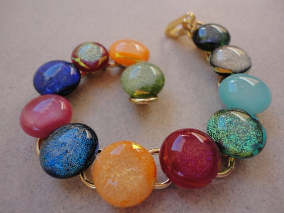 Rainbow Dichroic Glass Bracelet