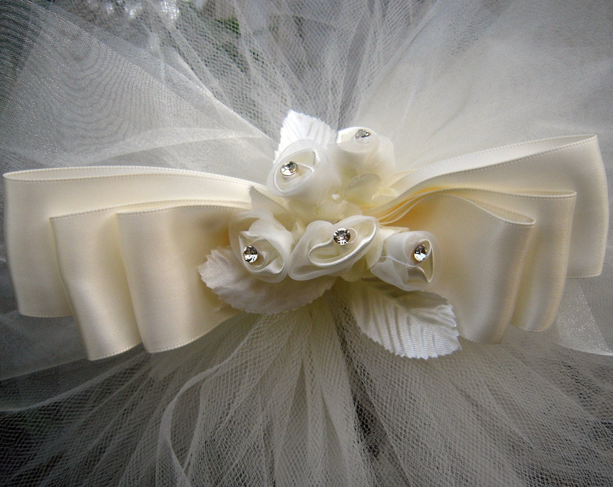 Reserved listing for kirstiep75 pew bows ivory tulle - Bow decorations for weddings ...