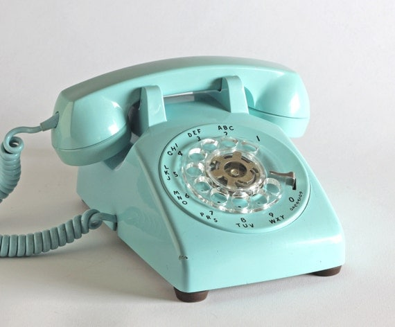 Turquoise Desk Phone - Model 500 - Designed by Henry Dreyfuss