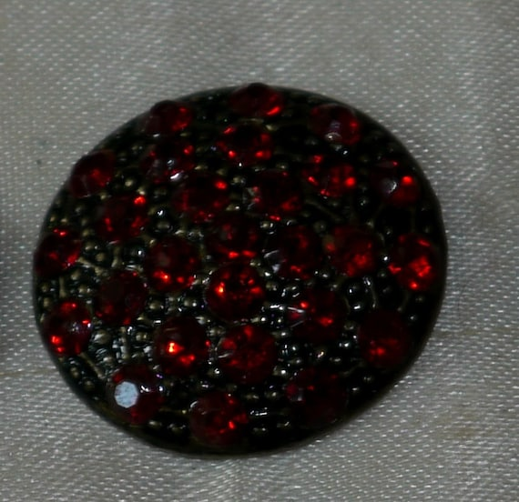 Vintage Red Rhinestone Button- Beautiful