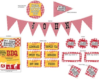BBQ Red Gingham - Complete Print It Yourself Party