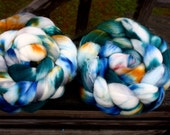Hand Painted Superwash Merino Combed Top - 4/each oz in Cliff Diving