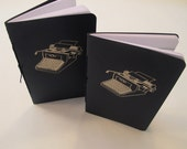 Typewriter Pocket Notebooks: Set of Two Navy Blue and Silver Embossed Small Notebooks Cahier