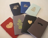 Set of Two Assorted Pocket Notebooks: Mix and Match Embossed Small Notebooks Cahier