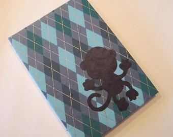 Monkey Handmade Book Coptic Bound: Green, Grey, and Brown Plaid Journal Notebook Hardbound